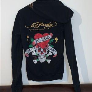 Ed hardy rhinestone zip up hoodie